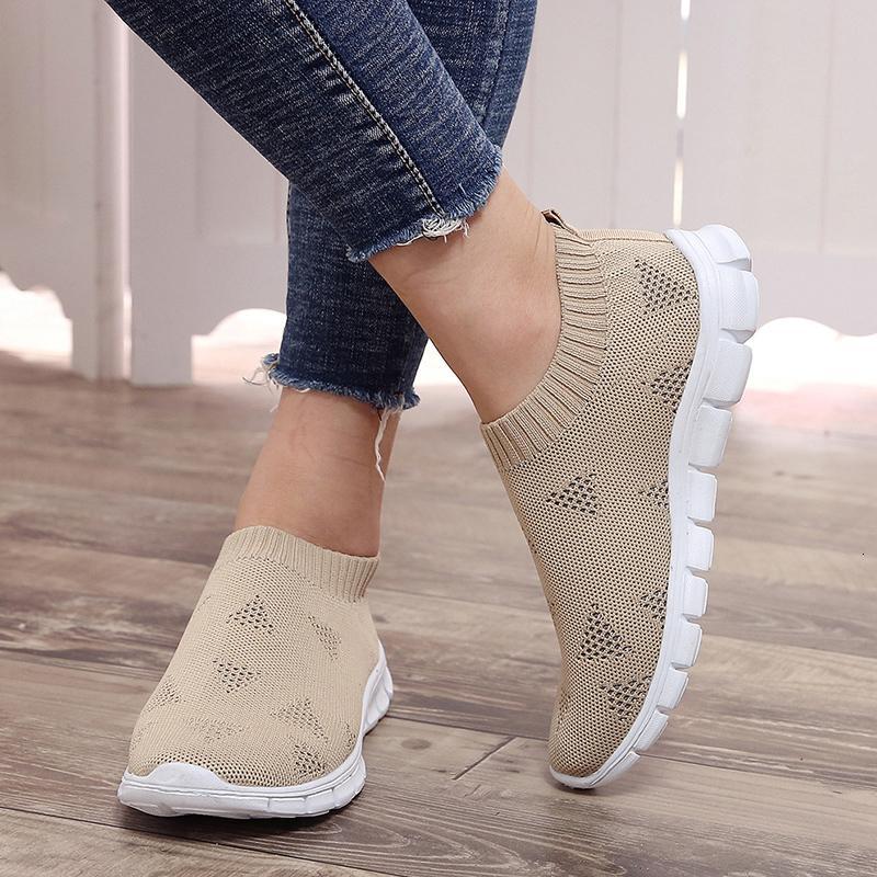 Yeni artı boyutu 43 solunabilir hava örgü spor ayakkabıları kadın platformu örgü daire yumuşak çift yürüyüş ayakkabıları erkekler üzerinde 2019 yaz kayma