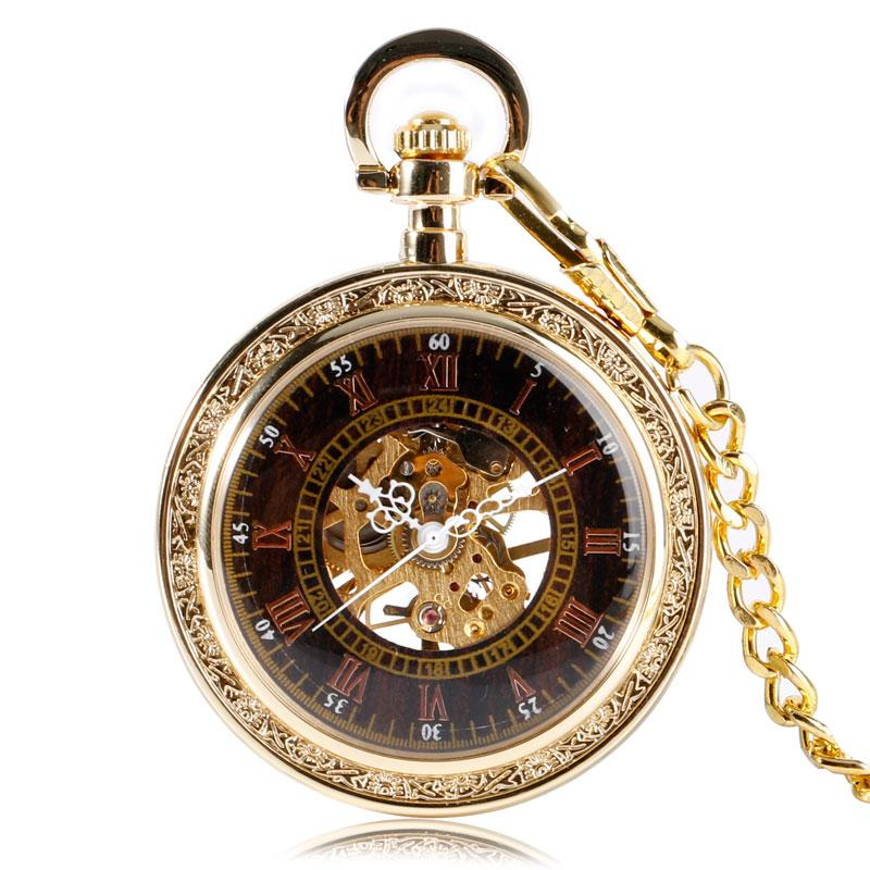 Classic Antique Style Golden Pendant Mechanical Watches Women Windup Open Face Mechanical Hand Wind Pocket Watch Men Gifts