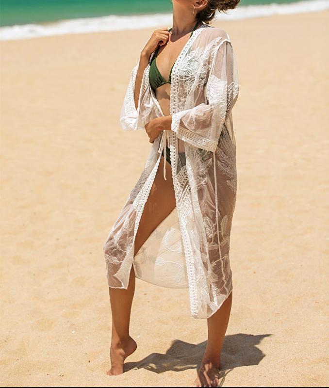 2020 Новый Пляж Sexy Cover Up Женщины бикини Купальники Cover Up Lace Hollow Crochetbeach платье Длинные туники купальники Cover-Ups