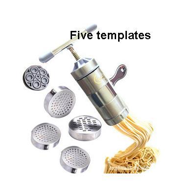 Aço inoxidável Household 5 Styples Pasta Noodle Mão Manual Maker máquina da imprensa vegetais Cozinhar Ferramentas Acessórios de cozinha