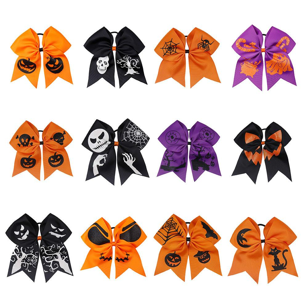 "7"" Halloween Cheer Bow Glitter Pumpkin Printed Ribbon Handmade Cheerleading Hairbows Girls Halloween Party Hair Accessories"