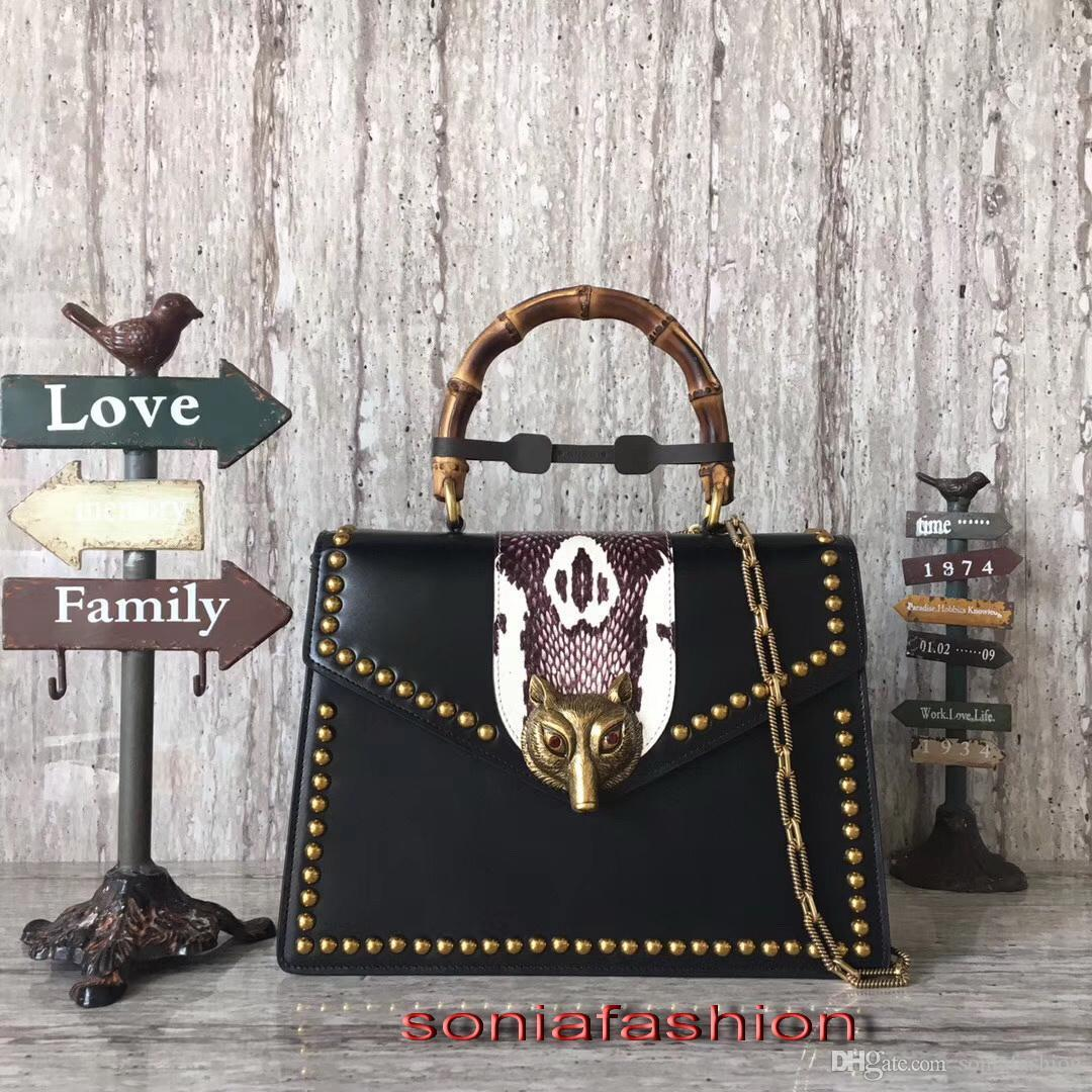 Nuovo stile borsa donne di modo caldo in vera pelle manico di bambù e borsa a tracolla donne della cinghia lunga catena con spedizione gratuita rivetto