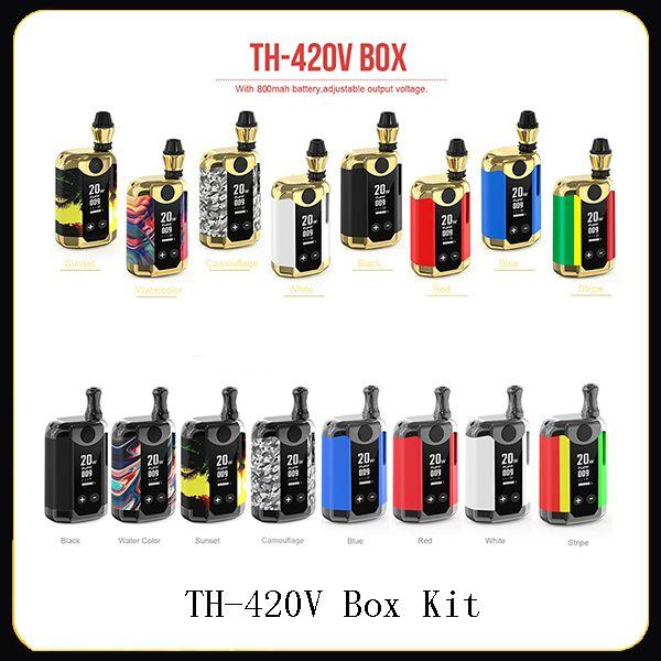 Boîte d'origine Kangvape TH-420 V Kit E Kit cigarette pour huile épaisse 800mAh VV Batterie Vape Mod 1-20W réglable TH420V TH Wattage 420V