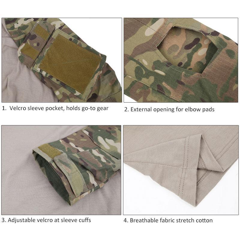 Tactical T-shirt Militar Homens Camuflagem camiseta de manga comprida T-shirt para a pesca roupas de caça T-shirt