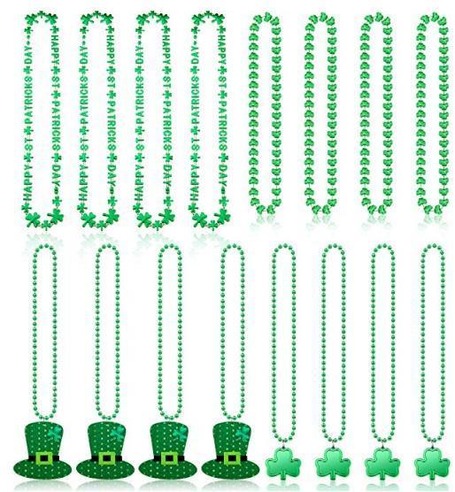 St. Patrick's Day Necklace Bracelet Shamrock Clover Green Hat Beaded Pendant Necklace Holiday Favors Party Festival DIY Decoration