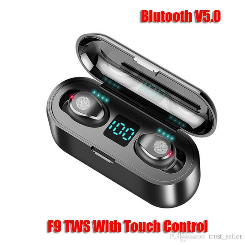 Headset sem fio fone de ouvido Bluetooth V5.0 F9 TWS auscultadores HiFi estéreo LED Earbuds exibição Touch Control 2000mAh Power Bank Com Mic