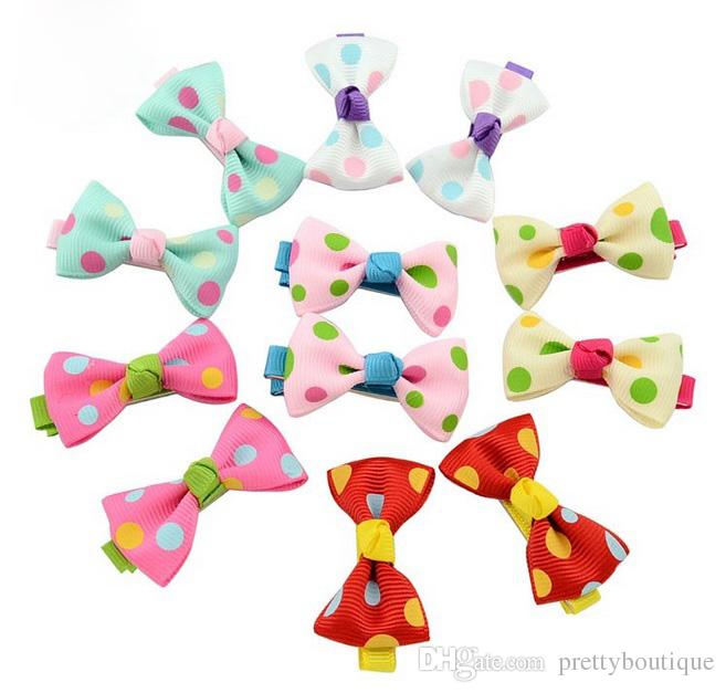 Mix Color Headbands Flower Print Ribbon Kids Hair Bow Bowknot Girl Polka Dot Duckbill Clips Children Boutique Hair Accessory Hairpin 601