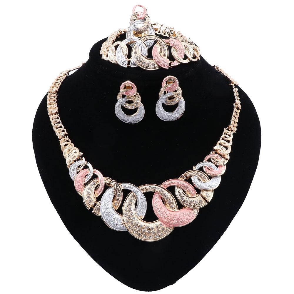 Новый Нигерия Преувеличены серьги ожерелья шарма Невеста браслет кольцо для женщин партии способа подарка Ювелирные наборы