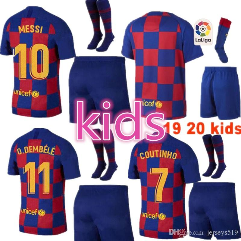KID KITS 2020 soccer jerseys hot FOOTBALL calcio futbol messi shirts Children youth socks shorts sport pink PIQUE COUTINHO DEMBELE 19