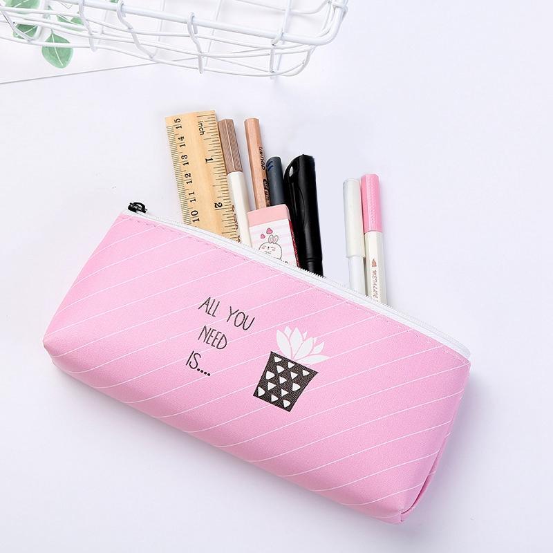 Cactus Pencil Case Canvas School Supplies Kawaii Stationery School Cute Pencil Box Pen Bags Office Students Tool