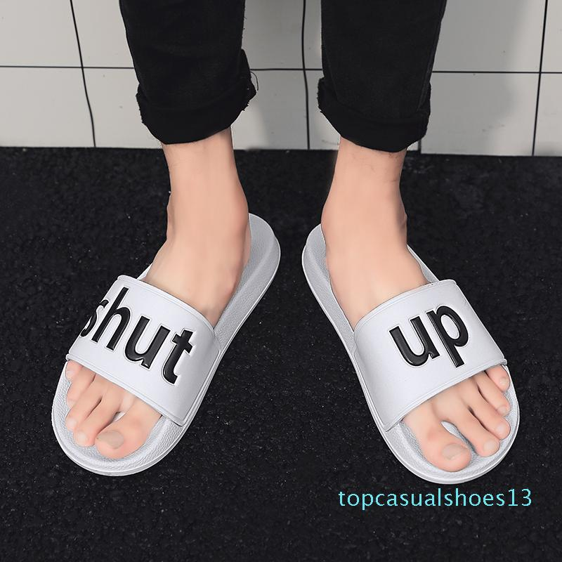 Men Slippers Big Size 36-46 Mens Shoes Casual Breathable Beach Sandals Slippers Wedge Black White Flip Flops Men Slides t13
