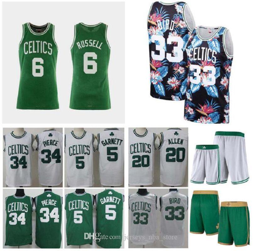 Мужчины баскетбол Бостон Селтикс 5 Гарнетт 34 пирсинг 20 Аллен 33 птица белый зеленый свингмен майка без рукавов и брюки 02