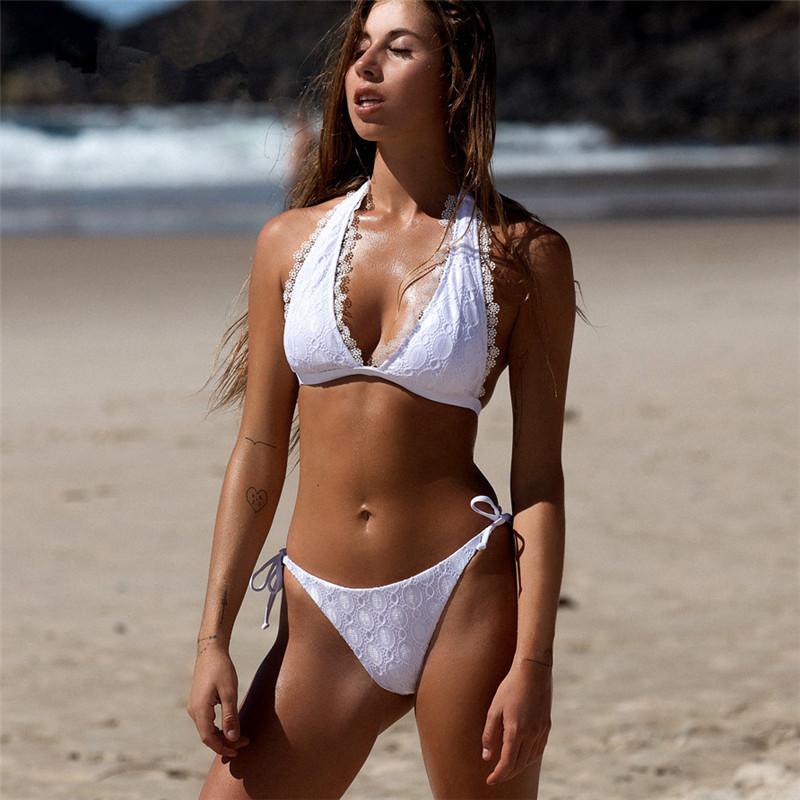 Fashion Lace Bikini Set Full Circle Beach Bikini Sexy Backless Swimsuit INS Popular Swim Swimwear Female Summer Swimsuit