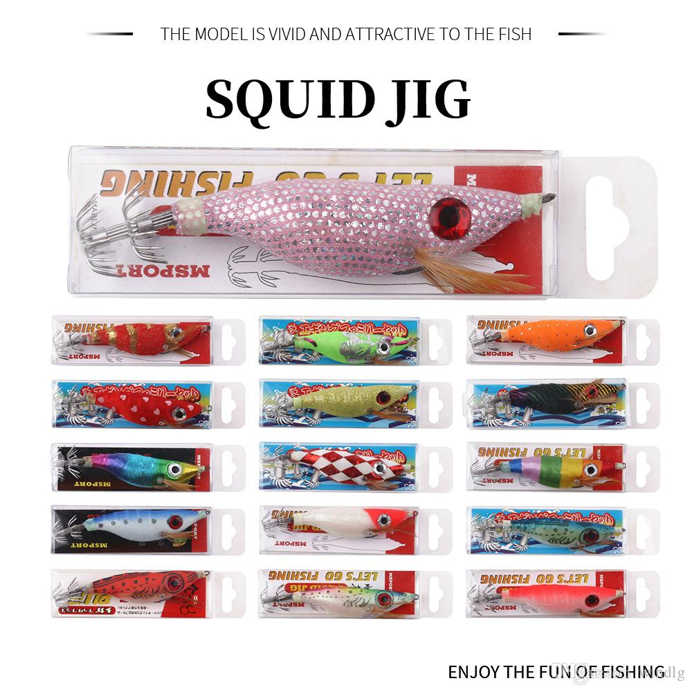 16colors Fishing Lure Squid Lures Wood Shrimp Bait Wobbler Luminous Squid Hook Light Jigs For Fishing Tackle