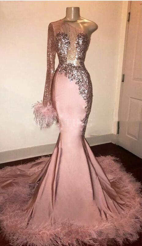 Paillettes paillettes manches longues sirène rose fille noire fille robe de bal avec plumes train une épaule africaine formelle robe de bal vestidos de fiesta