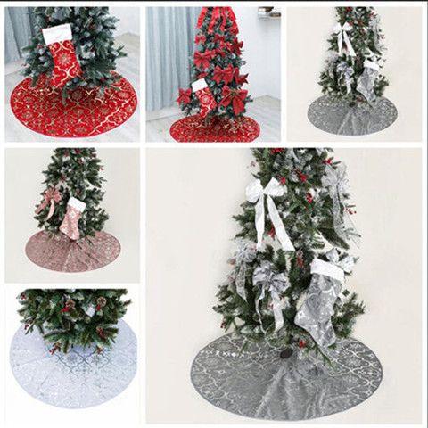 Falda del árbol de Navidad falda del árbol de navidad de Navidad medias con fiesta de Navidad Faldas Impreso nieve ornamento Suministros de vacaciones Decoración WY112Q-2