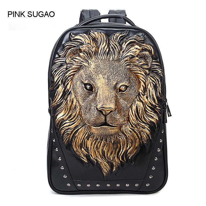 Rosa Sugao mochilas homens mochila de grife 3 cores mochila escolar de viagem saco de topo pu couro 3D animal print Anti-roubo mochila