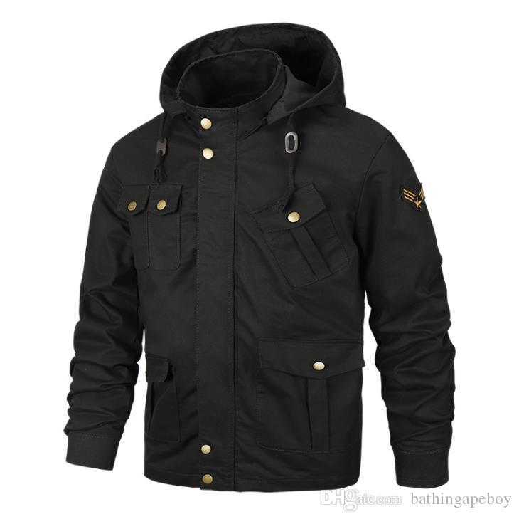 Plus Size Mens Designer Jaquetas Moda Casual Mens Carga Jacke Outono Inverno Mangas Compridas Mens Casacos Destacáveis