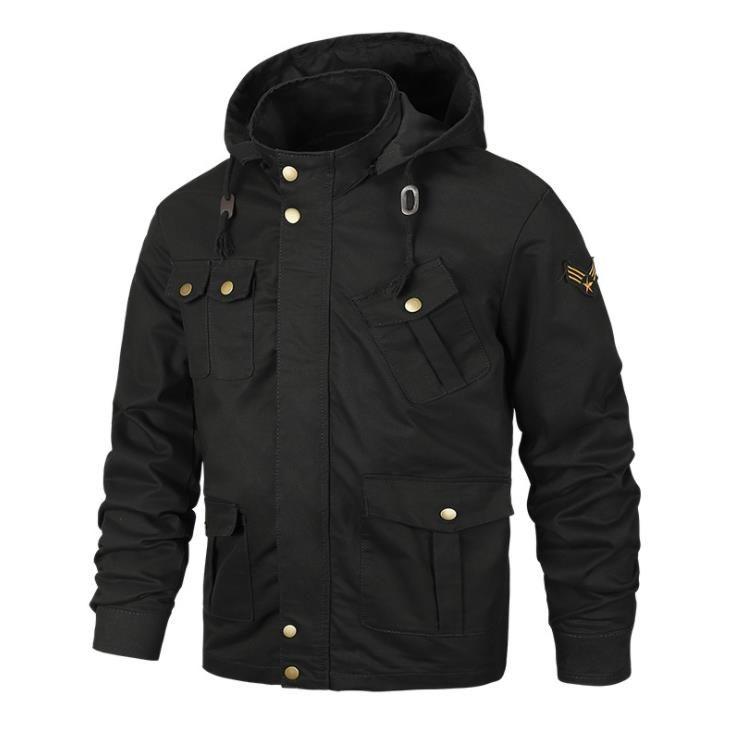 Artı Boyutu Erkek Tasarımcı Ceketler Moda Rahat Erkek Kargo Jacke Sonbahar Kış Uzun Kollu Şapka Ayrılabilir Erkek Mont