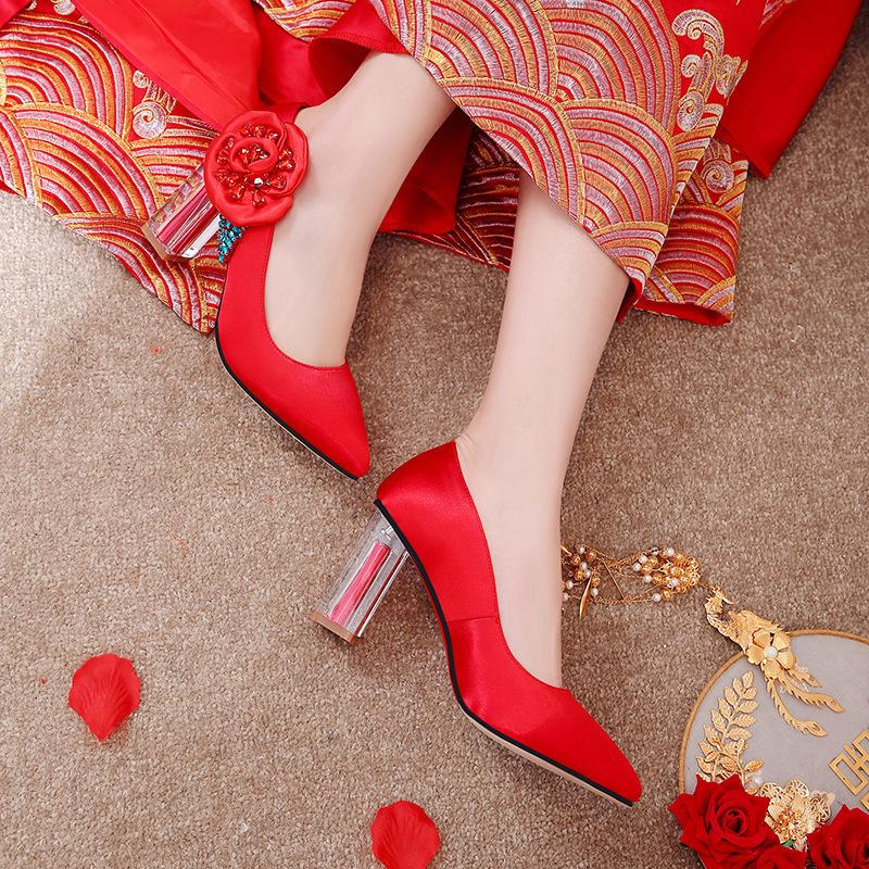 Sexy2019 Woman Coarse Red Marry Shoes High With Bride Wedding Shoe Will 40