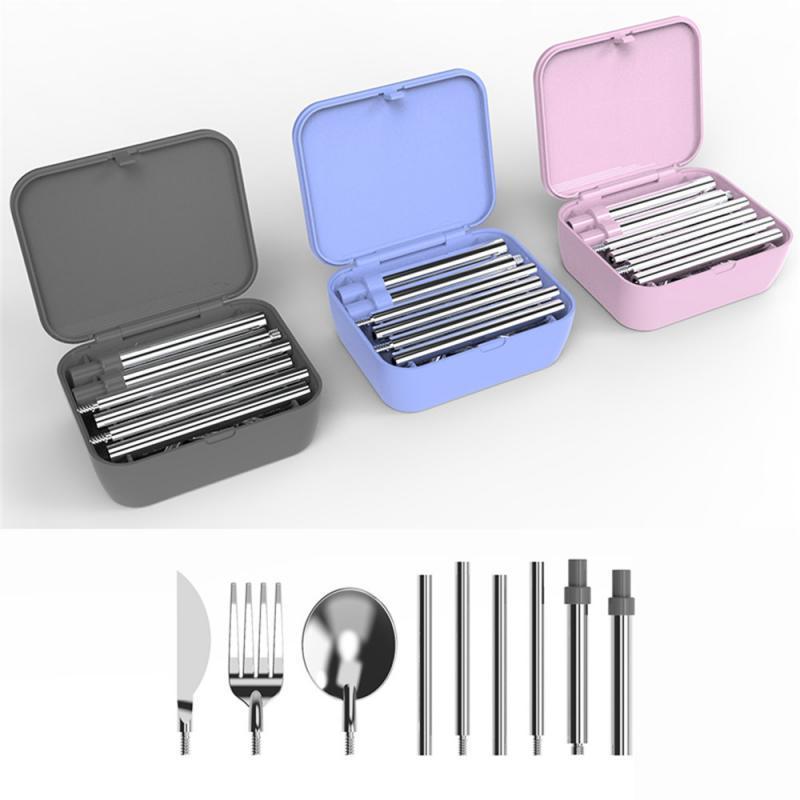 Edelstahl Besteck Sets Stroh Messer Löffel Gabel box 5in1 Tragbare Geschirr Set Home Party Abendessen Set Küche Geschirr Set