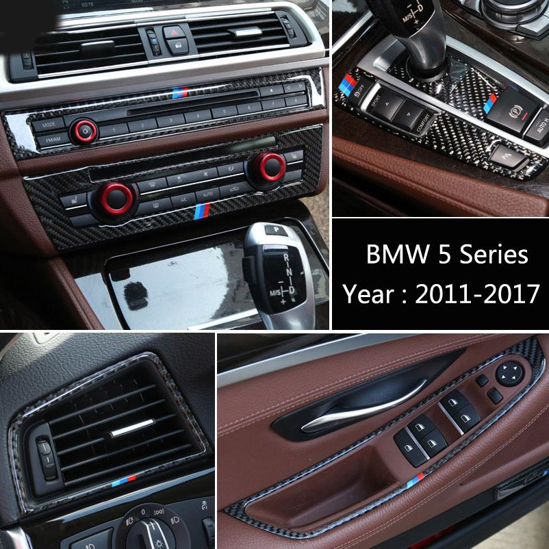 Carbon Fiber For BMW 5 series F10 F18 Car Center Console Cover Air Conditioning Outlet Vent Decorative Frame Sticker Auto Accessories
