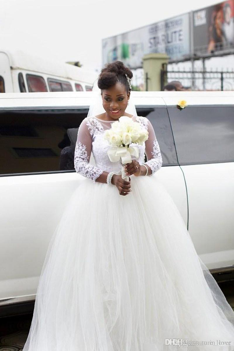 Длинные рукавные шеи шариковые платья свадебные платья Аппликации ручной работы кружевной тюль длиной дол принцесса свадебные платья пользовательские размеры