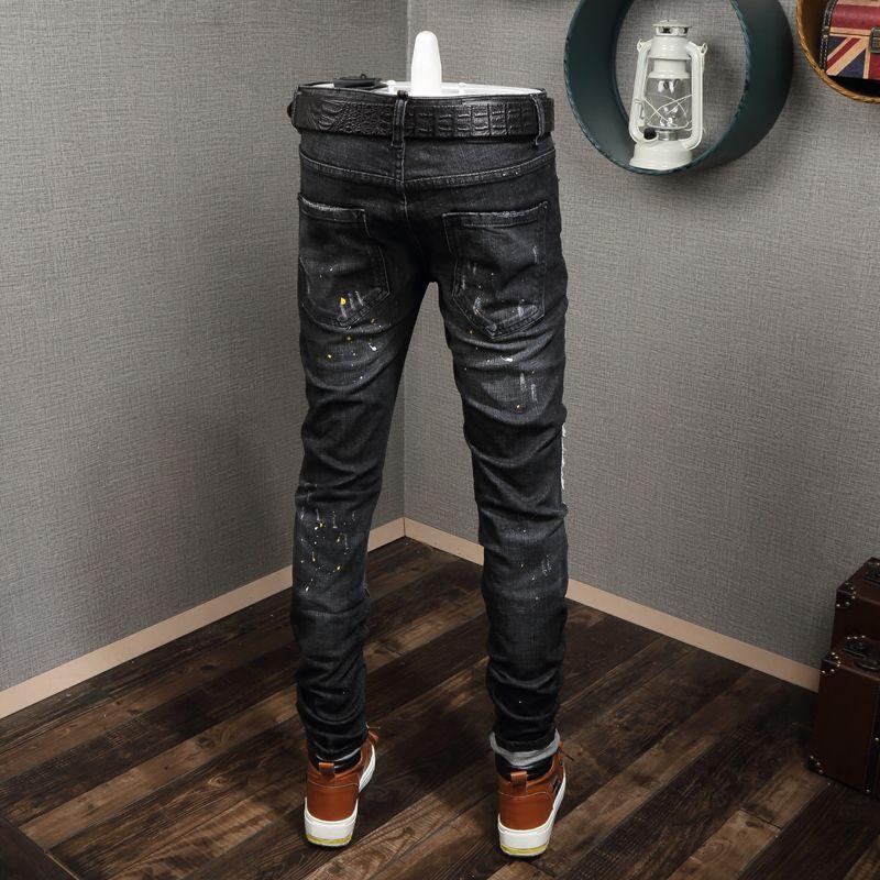 Европейская Станция Black Splash-Ink Hole Old Patch Slim-Fit Skinny Jeans Мужские Молодежные Стрейч-Джинсы В Корейском Стиле