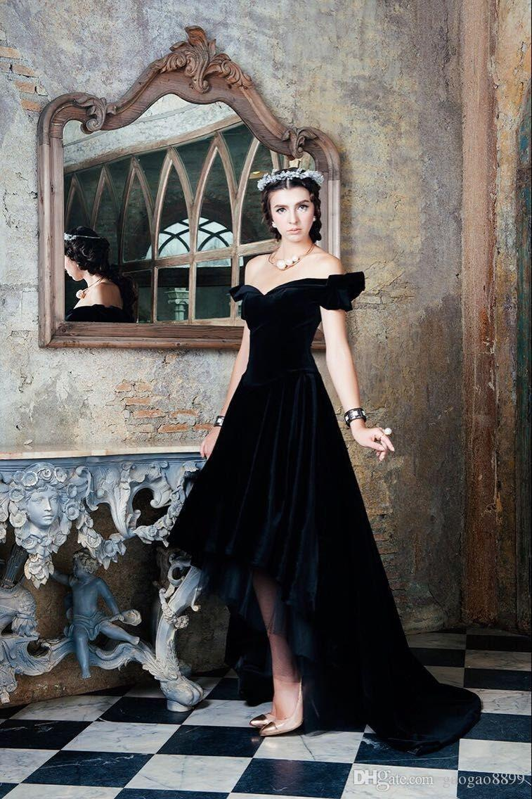 Vintage Black Velvet Formal Evening Dresses With Sexy Off Shoulder Hi Lo Back Lace up plus size Pageant Prom Gowns Robe de Soiree