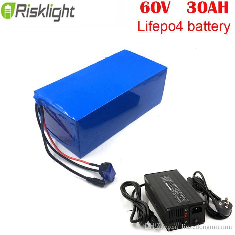 Литий-ионная батарея LiFePO4 60V 30AH литиевая батарея для электрического скутера с зарядным устройством 5A