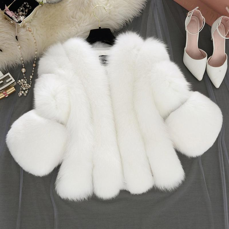 Fashion Artificial  Fur Coat Women Girls 3/4 Sleeve Fluffy Faux Fur Short Thick Coats Jacket Furry Party Overcoat 2018 Winter