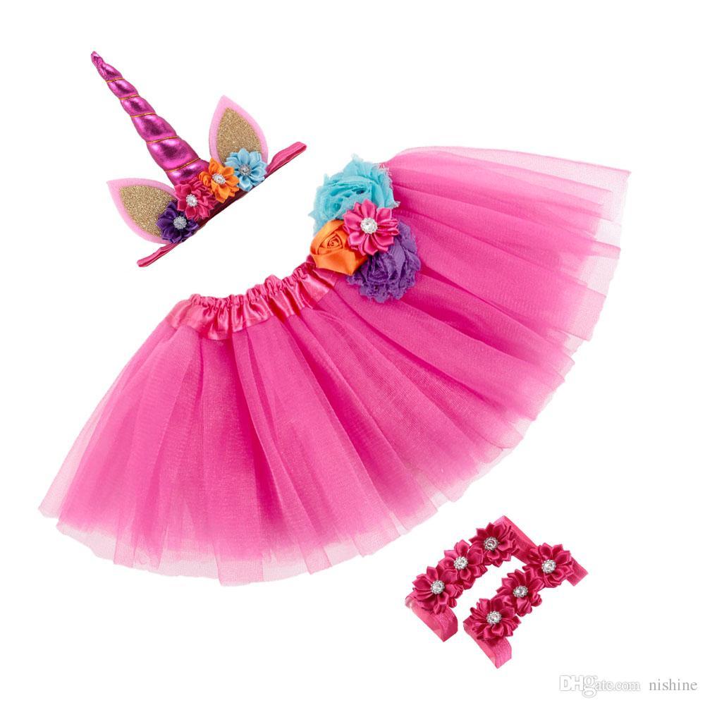Nouveau 0 ~ 2 ans nouveau-né licorne corne bandeaux tutu robe avec des sandales ensembles enfants photo shoot fête cadeau d'anniversaire