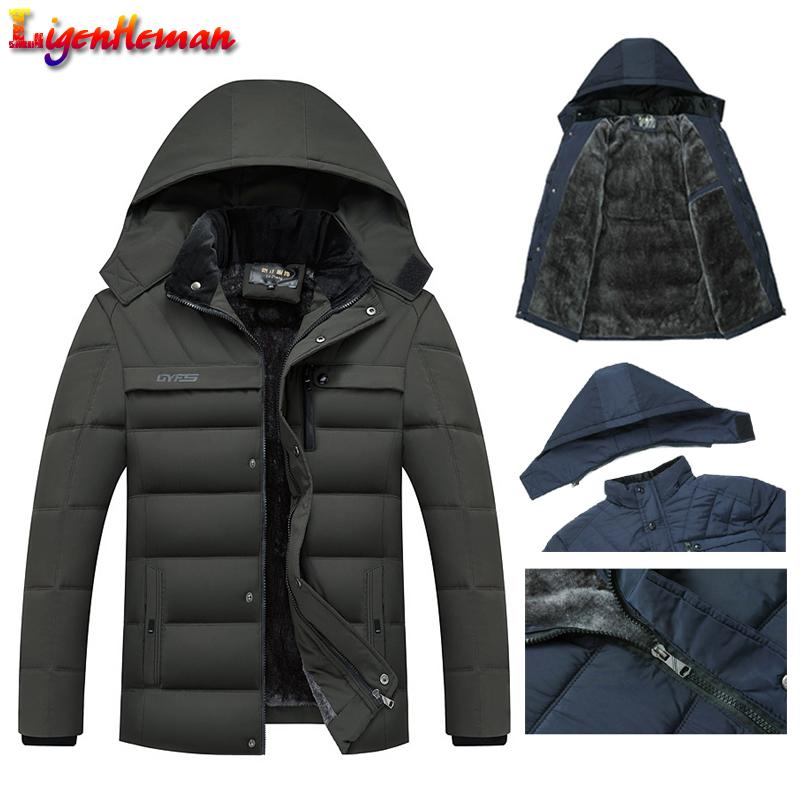 Fleece Man's Jackets Outwear 2019 Hot Winter Jacket Men Thicken Warm Men Parkas Capucha con capucha Cremallera Abrigo Sombrero Masculino Desmontable