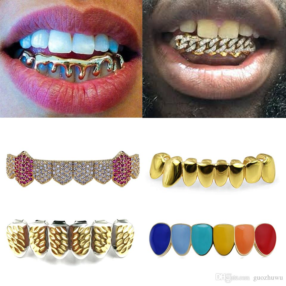 18K Real Gold Braces Punk Hiphop Multicolor Diamond Custom Bottom Teeth Grillz Dental Mouth Fang Grills Tooth Cap Vampire Rapper Jewelry