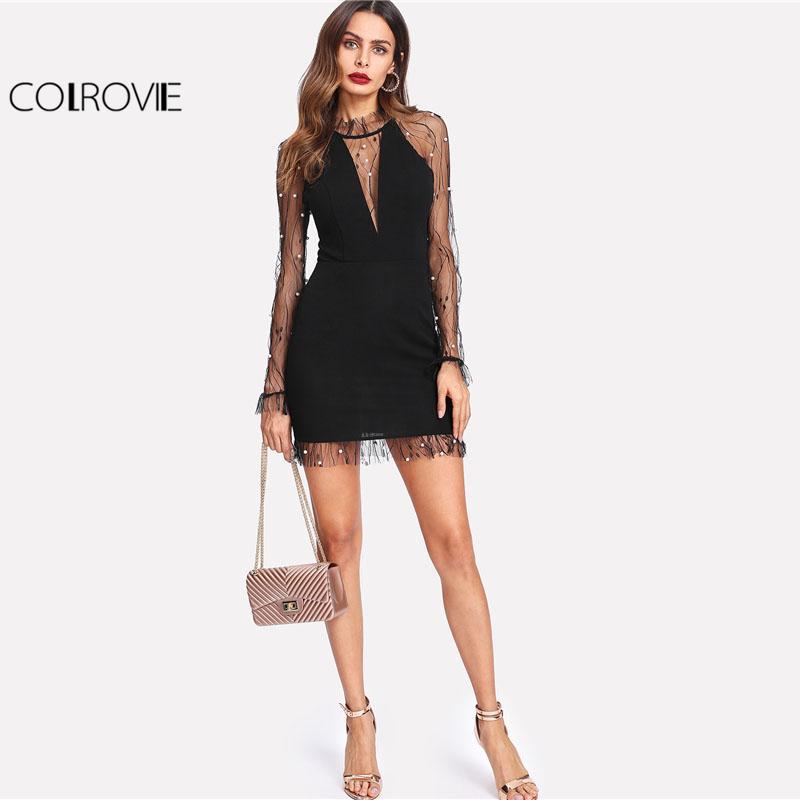 2019 Perla nera perline Vine Mesh Dress Women Girocollo manica lunga Sexy Dress Party Vestito aderente