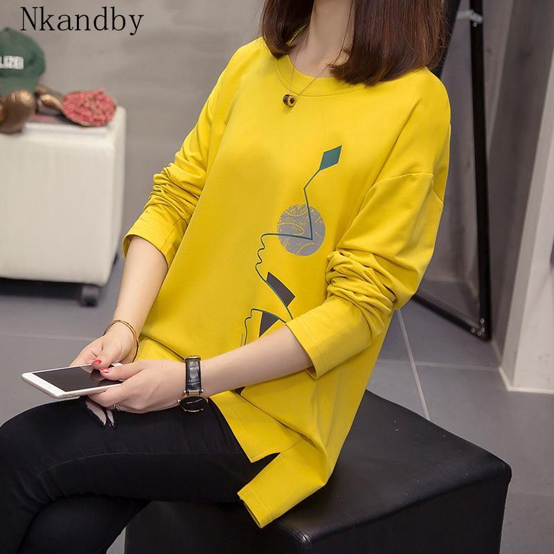 Nkandby tamaño extra grande de las mujeres camisetas ropa de otoño flojo gráfico camisas de las camisetas de gran tamaño de manga larga Dividir Imprimir Señora coreana camisetas T200331