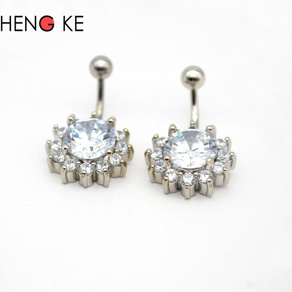 wholesale Belly button rings Bar Clear CZ Gem Zircon Rhinestone Navel Piercing Surgical Steel Nombril ombligo Body Jewelry 14G