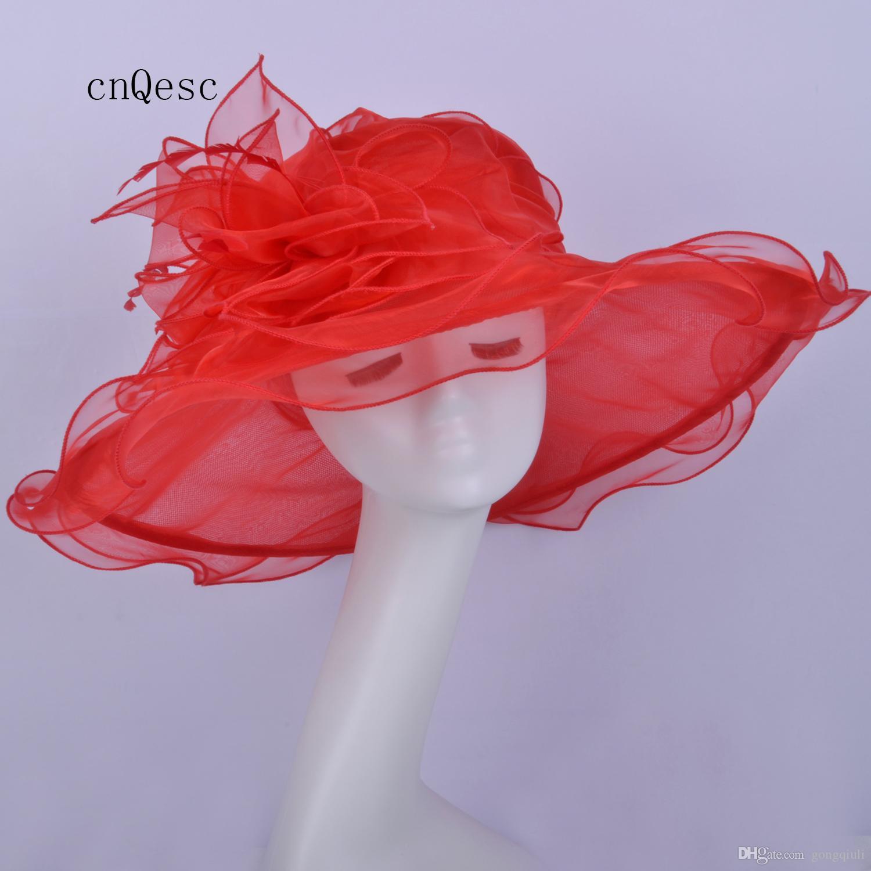 2019 Cappello da donna a tesa larga nero Cappello in organza per doccia nuziale da sposa madre della sposa con piume