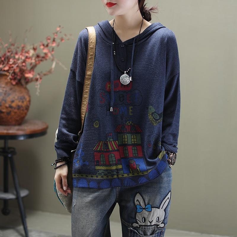 2020 Printemps chandail rétro femmes de grande taille en vrac tricot tout-match Tops New capuche motif imprimé Casual pull dames