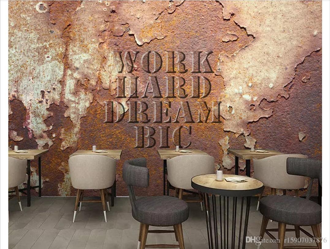 3D wallpapers custom photo mural wall paper Retro Vintage Metal Tin Industrial Wind Bar KTV Background Wall papel de parede