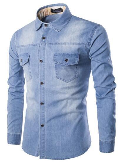 2019 New Best-Selling Hochwertige Männer Recreational Wasser gewaschenes Jeans Langarm-Shirts Fabrik-Großverkäufe
