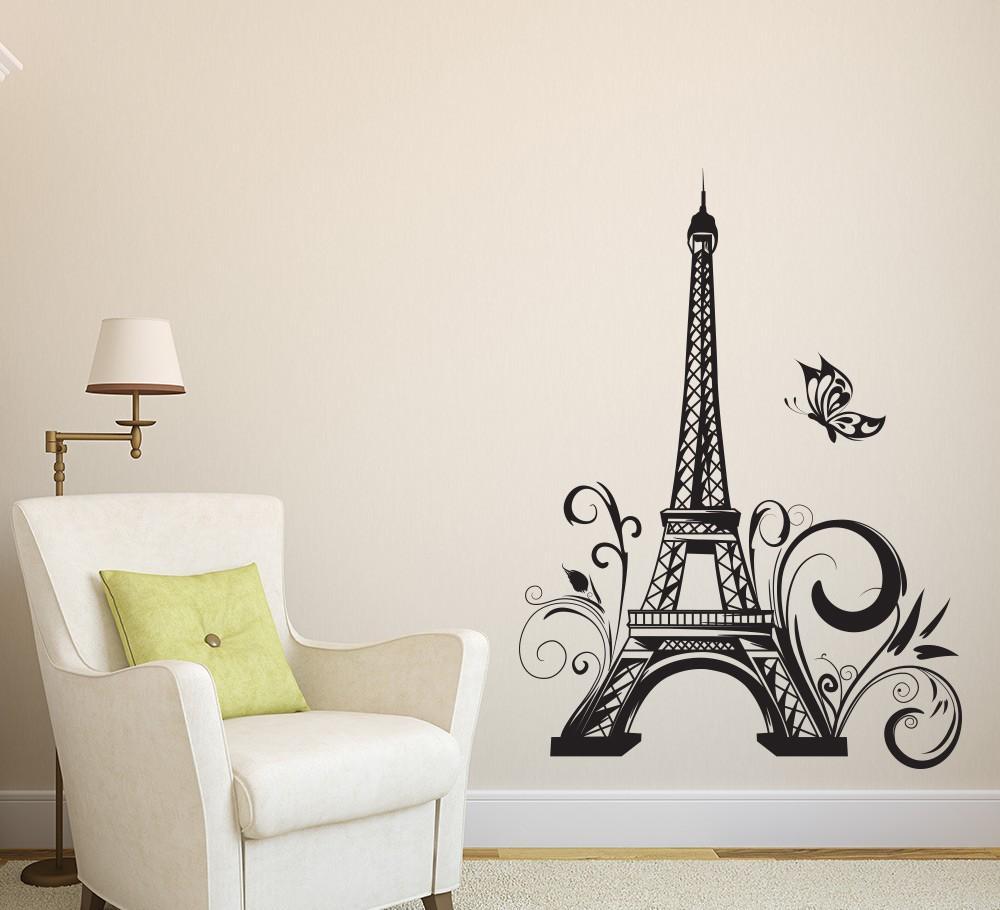 거실 홈 인테리어 비닐 방수 장식 침실 예술 장식 벽화에 대한 타워 파리 나비 벽 스티커