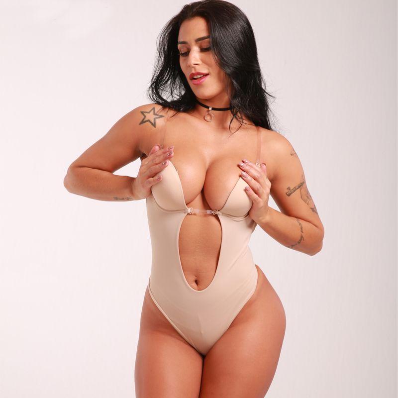 Nahtloser U-Ausschnitt-rückenfreier Zapfen-Bodysuit für Frauen Bottom Bridal Shapewear Invisible Under Dress Tauch-BH Body Shaper-Anzug