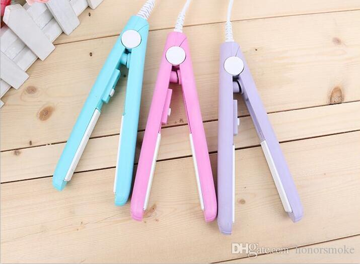 Mini défrisage Irons Portable cheveux céramique pratique lisseur Bigoudi fer perm droite Curl DOUBLE 4 Couleurs Choisir