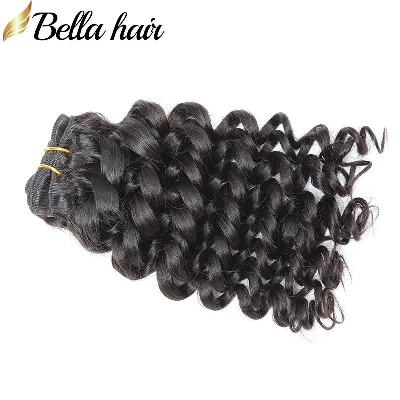 브라질 버진 헤어 번들 깊은 곱슬 인간의 머리 펀미 헤어 씨실 확장 되죠 3PCS / 많은 품질 자연 색상 Bellahair