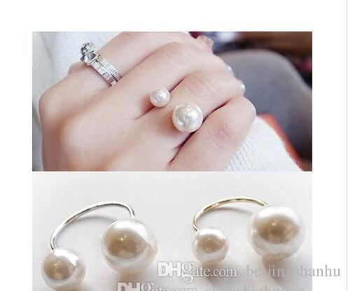 Anelli per le donne Perle simulate 18KGP Anelli regolabili Gioielli di moda Anel Wedding Engagement Finger Ring 2017