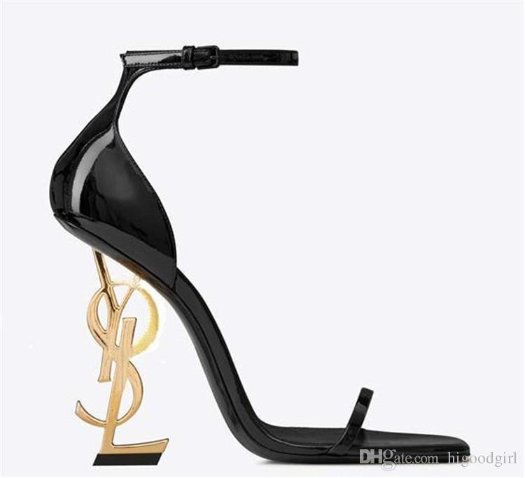 2020 sapatos de casamento couro preto Desinger Heel Grey moda nupcial Modest Eden High Heel Mulheres Evening Partido Shoes 10cm