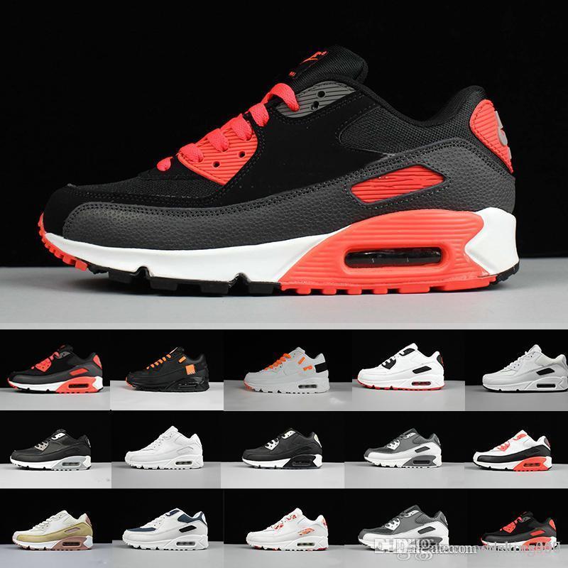 Yeni Erkekler bayan ayakkabı klasik 90 Erkekler ve kadınlar Koşu Ayakkabı Siyah Kırmızı Beyaz Spor Eğitmeni Hava Yastığı Yüzey Nefes Spor ayakkabı