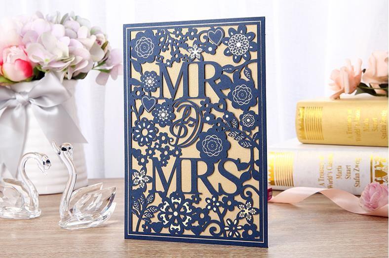 해군 파란색 레이저 미스터와 부인 청첩장 컷 봉투와 함께 꽃 웨딩 vitaion 카드 무료 맞춤 인쇄