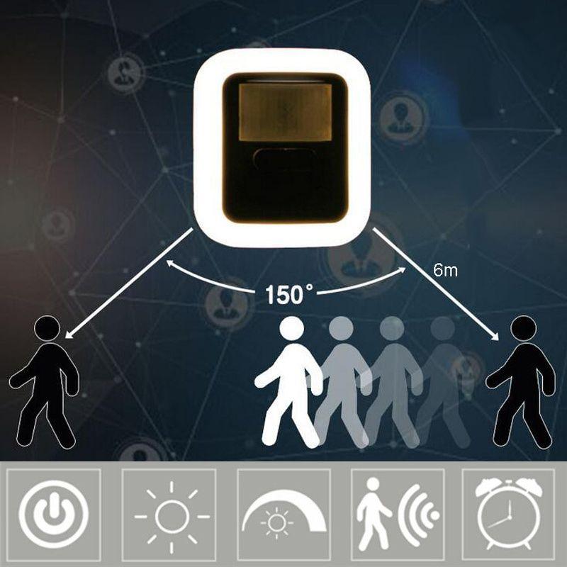 la luz del sensor de la inducción del cuerpo LED Plug-in sensor de movimiento ligero de la lámpara de sonido Control de sensor inteligente noche de la lámpara de luminosidad regulable Luces de emergencia